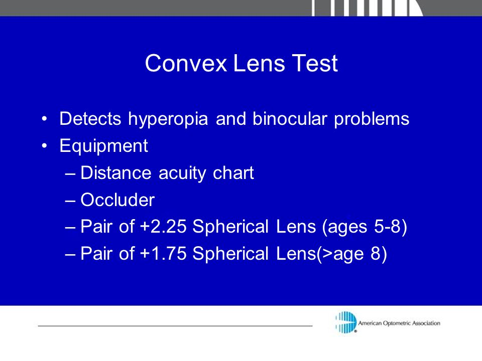 Convex Lens Test Detects hyperopia and binocular problems Equipment