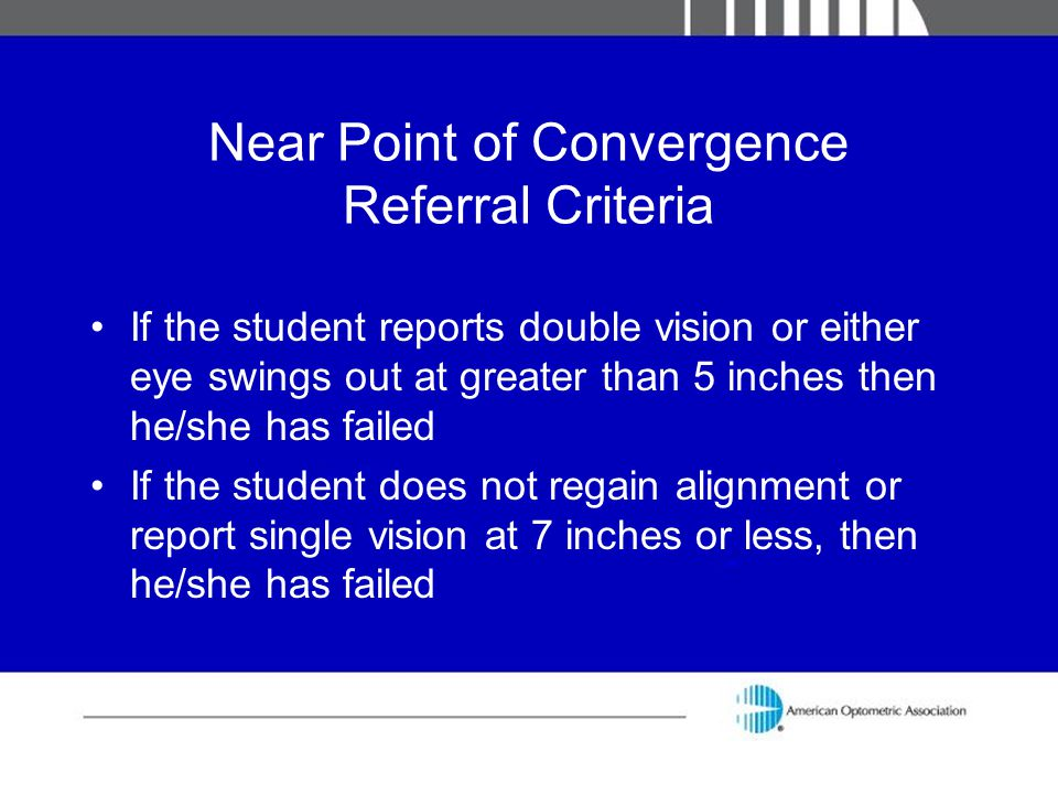 Near Point of Convergence Referral Criteria