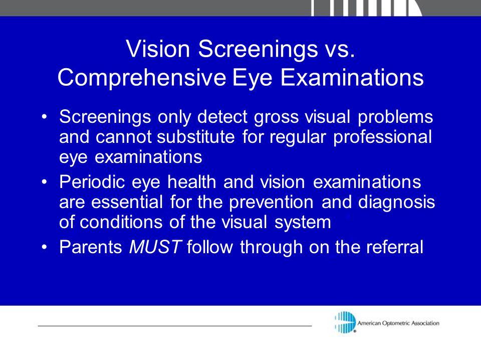 Vision Screenings vs. Comprehensive Eye Examinations
