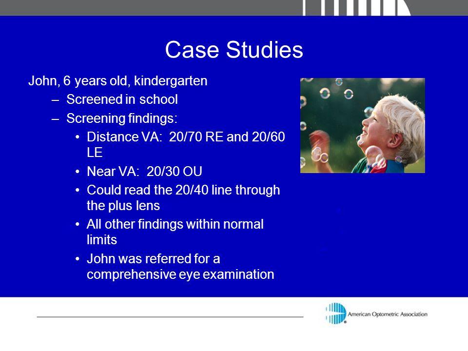 Case Studies John, 6 years old, kindergarten Screened in school