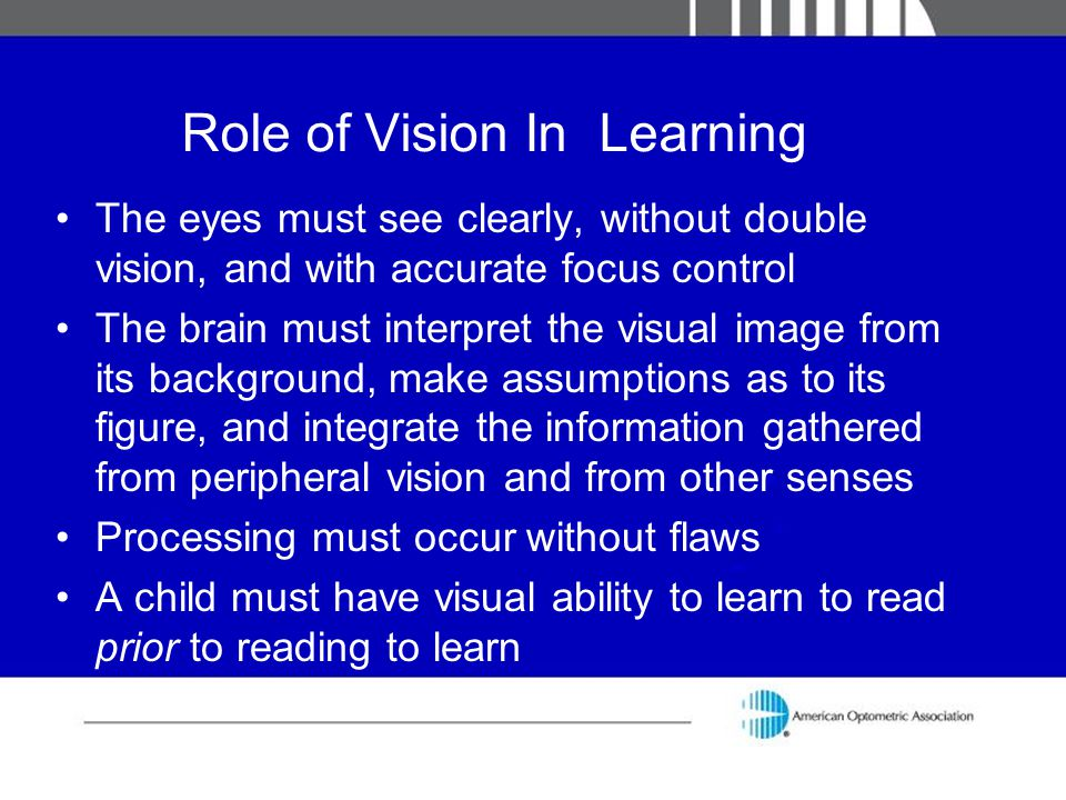 Role of Vision In Learning
