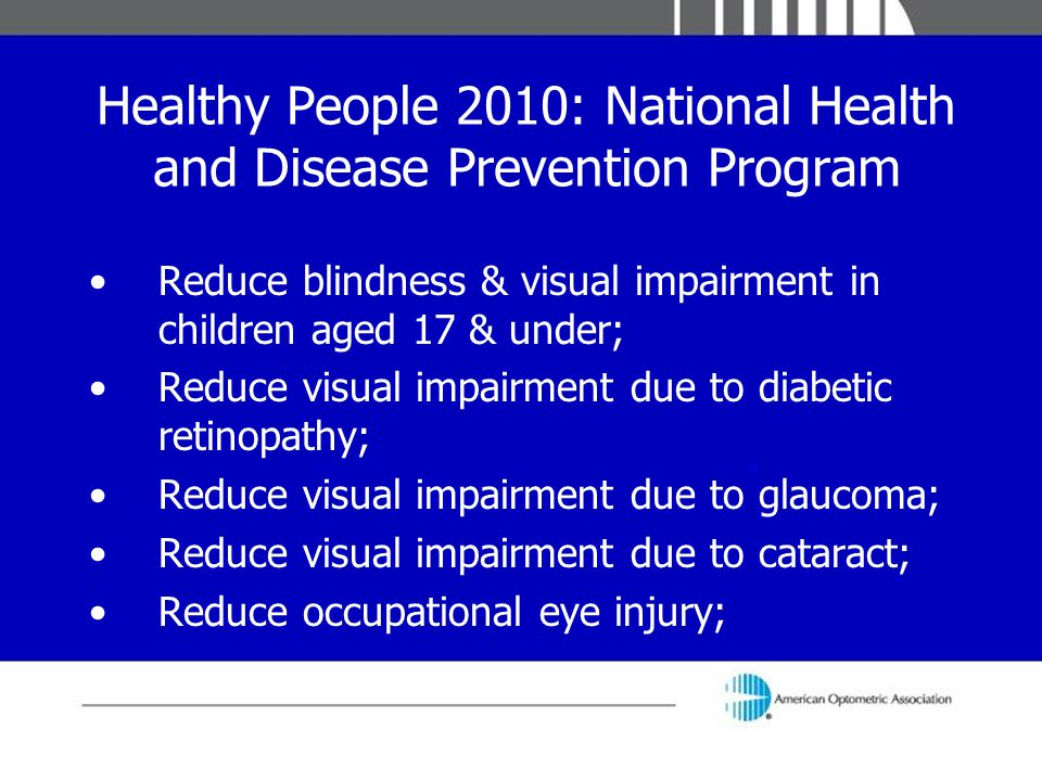 Healthy People 2010: National Health and Disease Prevention Program