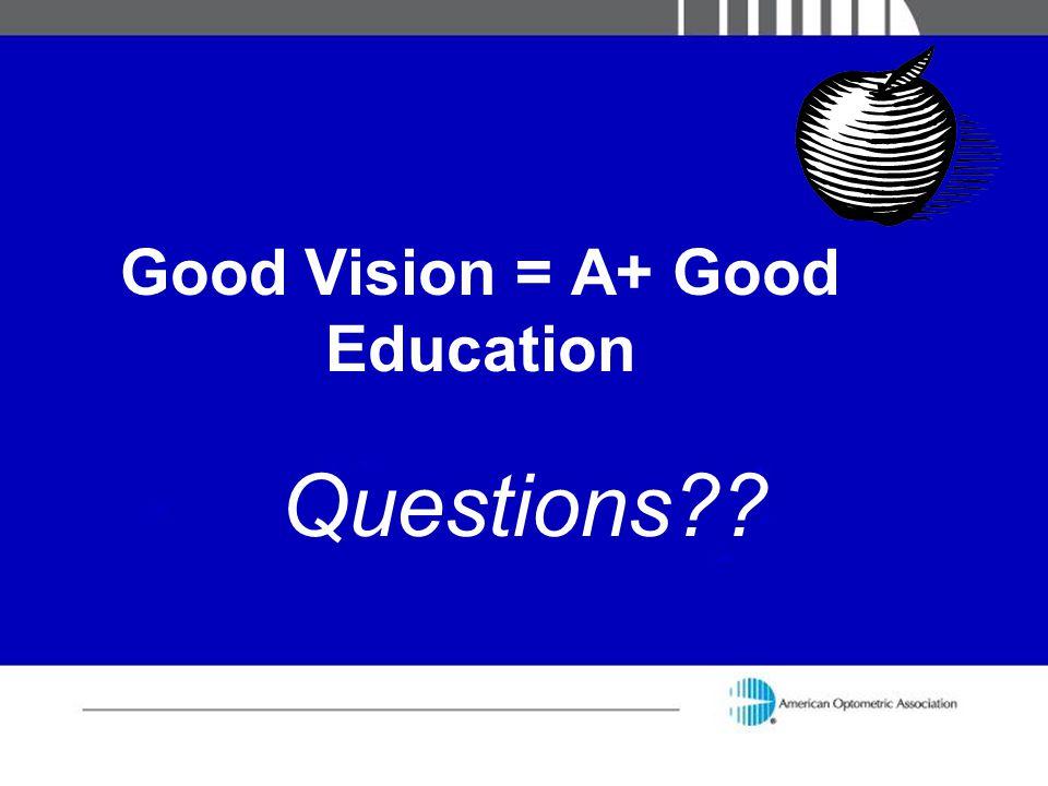 Good Vision = A+ Good Education