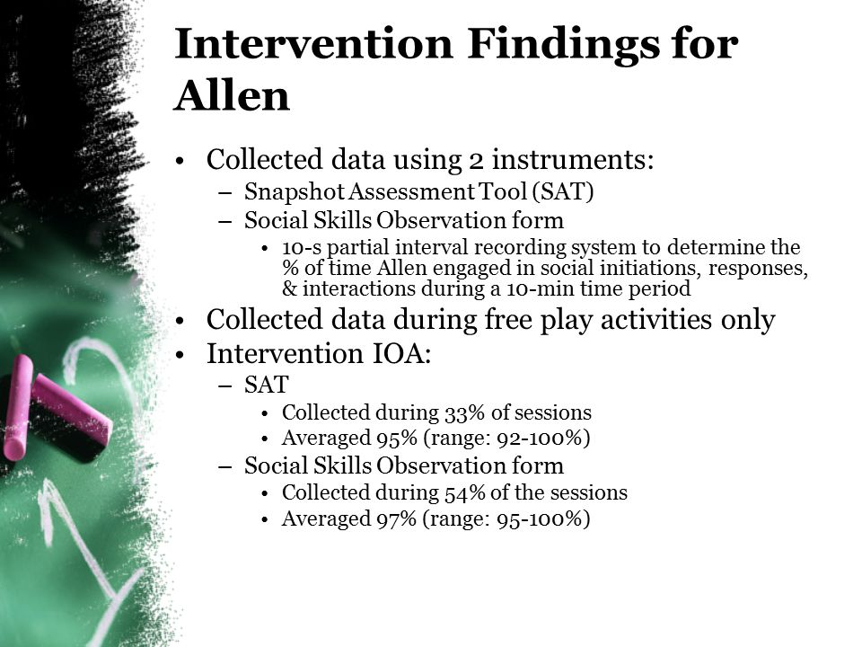 Intervention Findings for Allen