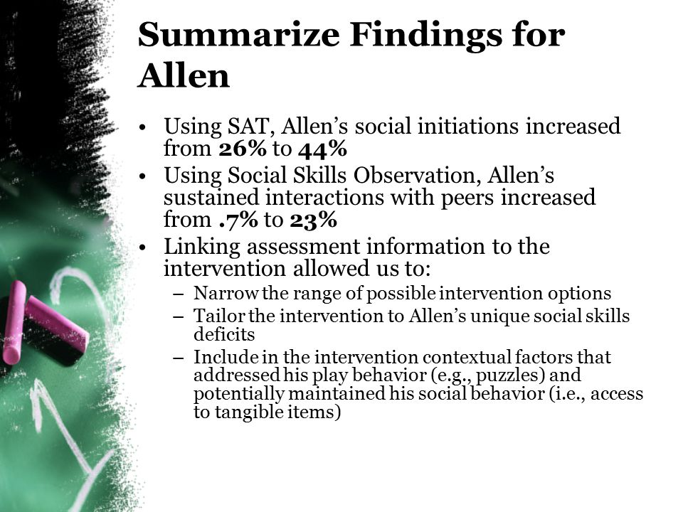 Summarize Findings for Allen