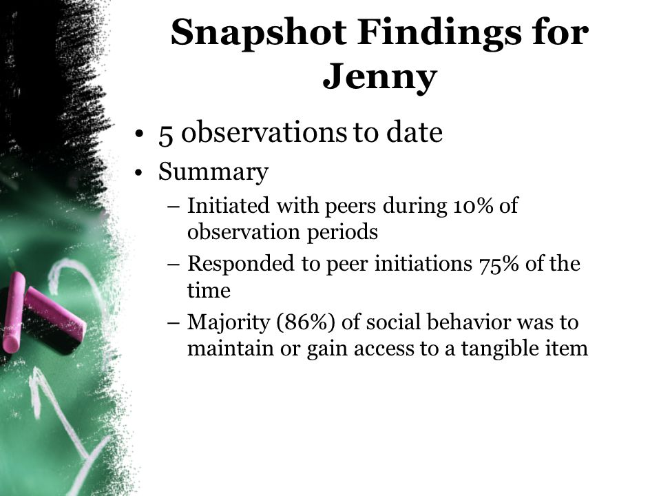Snapshot Findings for Jenny