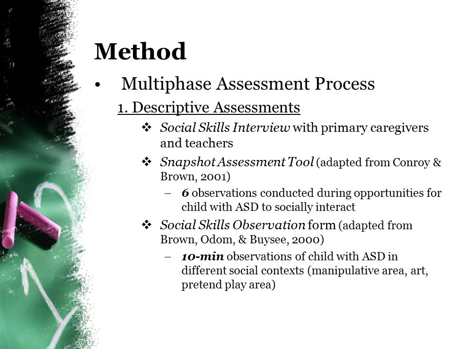 Method Multiphase Assessment Process 1. Descriptive Assessments