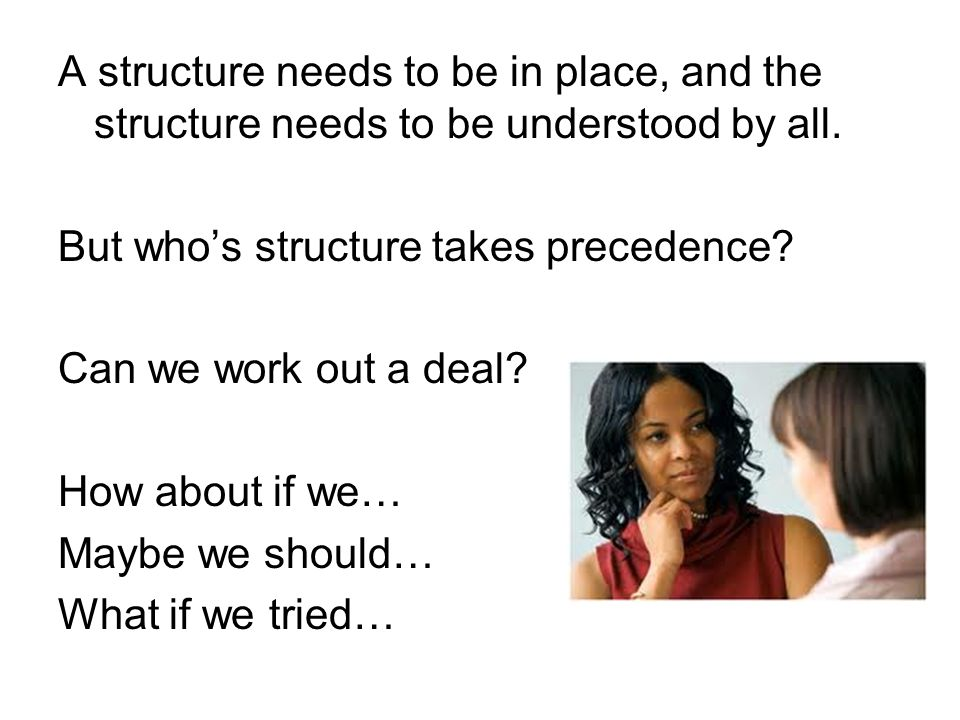 A structure needs to be in place, and the structure needs to be understood by all.