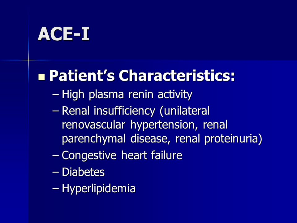 ACE-I Patient's Characteristics: High plasma renin activity