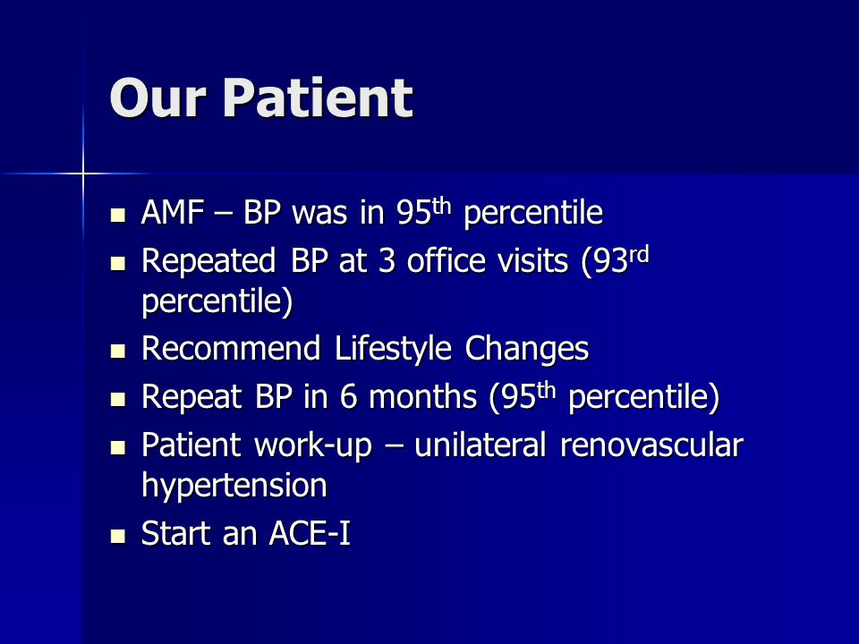 Our Patient AMF – BP was in 95th percentile