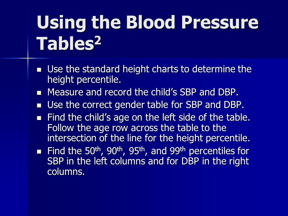 Using the Blood Pressure Tables2