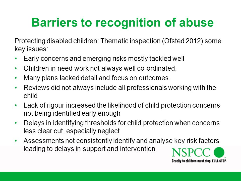 Barriers to recognition of abuse