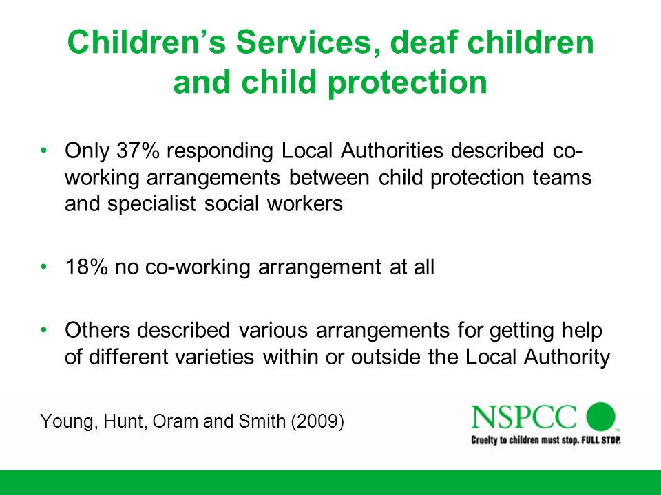 Children's Services, deaf children and child protection