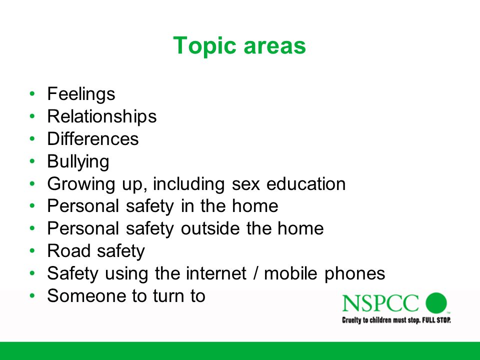 Topic areas Feelings Relationships Differences Bullying
