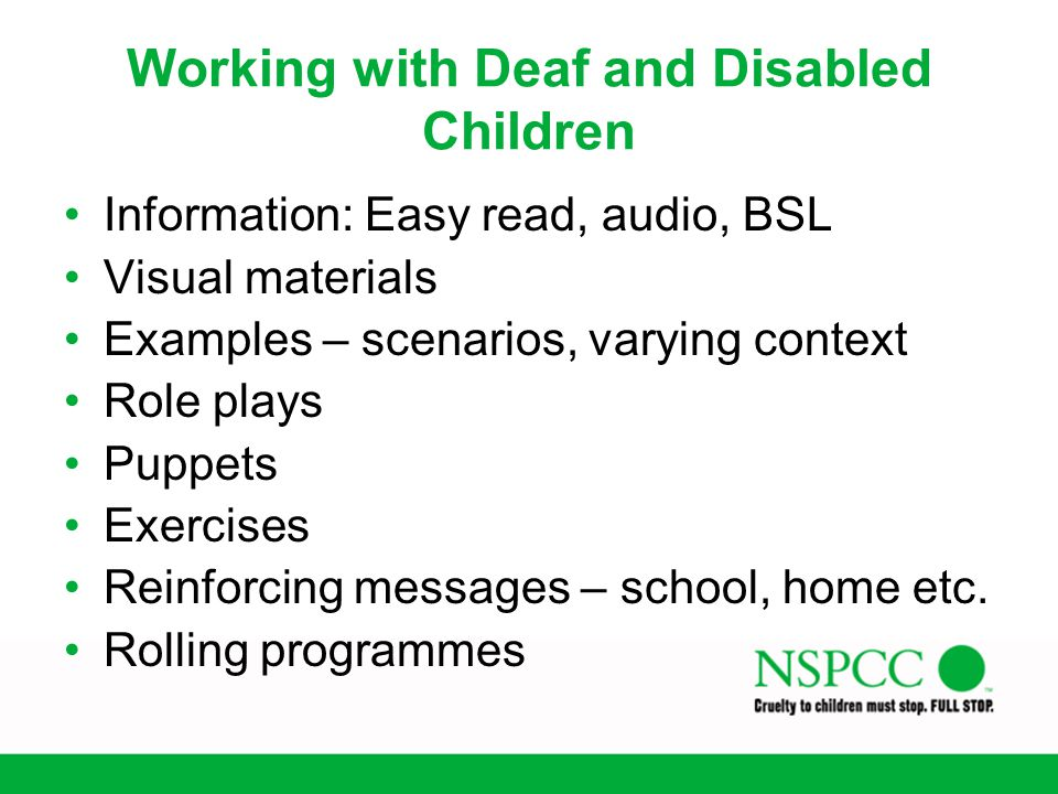 Working with Deaf and Disabled Children