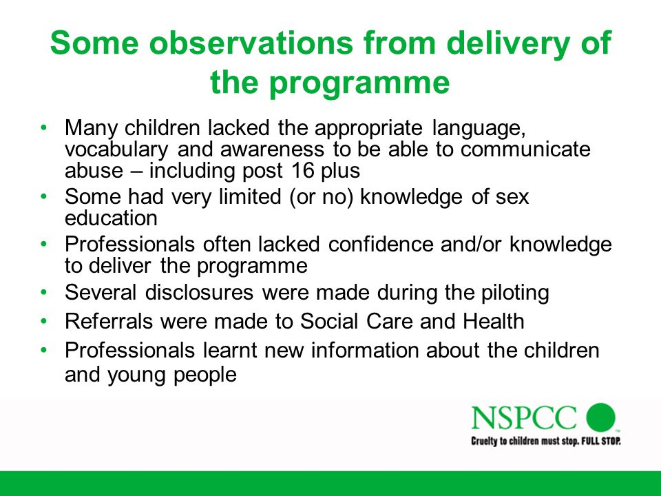 Some observations from delivery of the programme