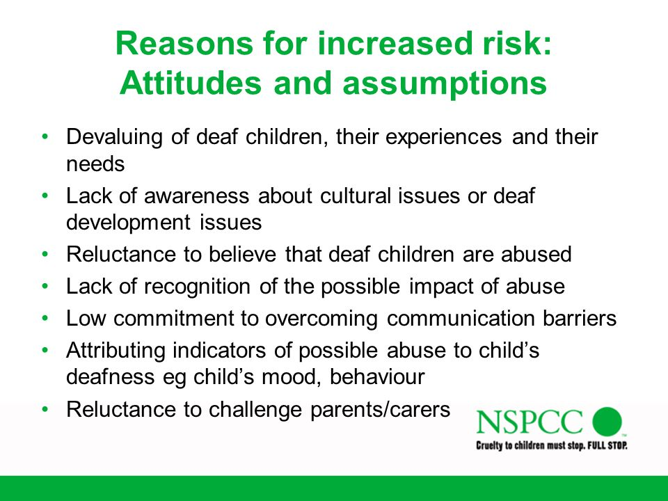 Reasons for increased risk: Attitudes and assumptions