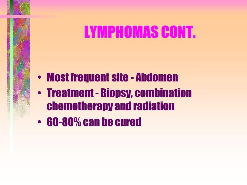 LYMPHOMAS CONT. Most frequent site - Abdomen