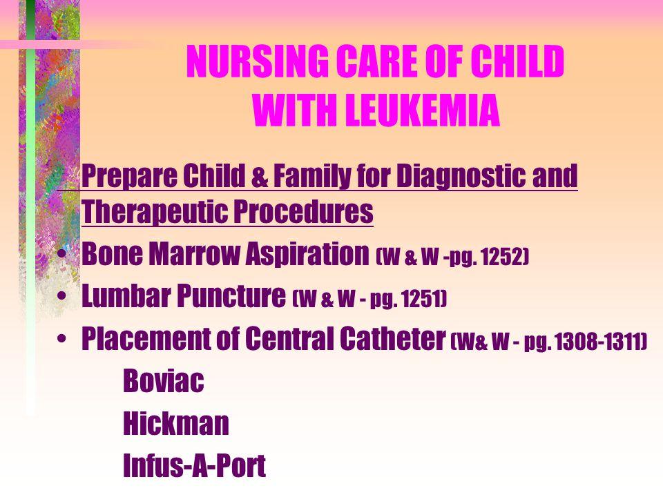 NURSING CARE OF CHILD WITH LEUKEMIA