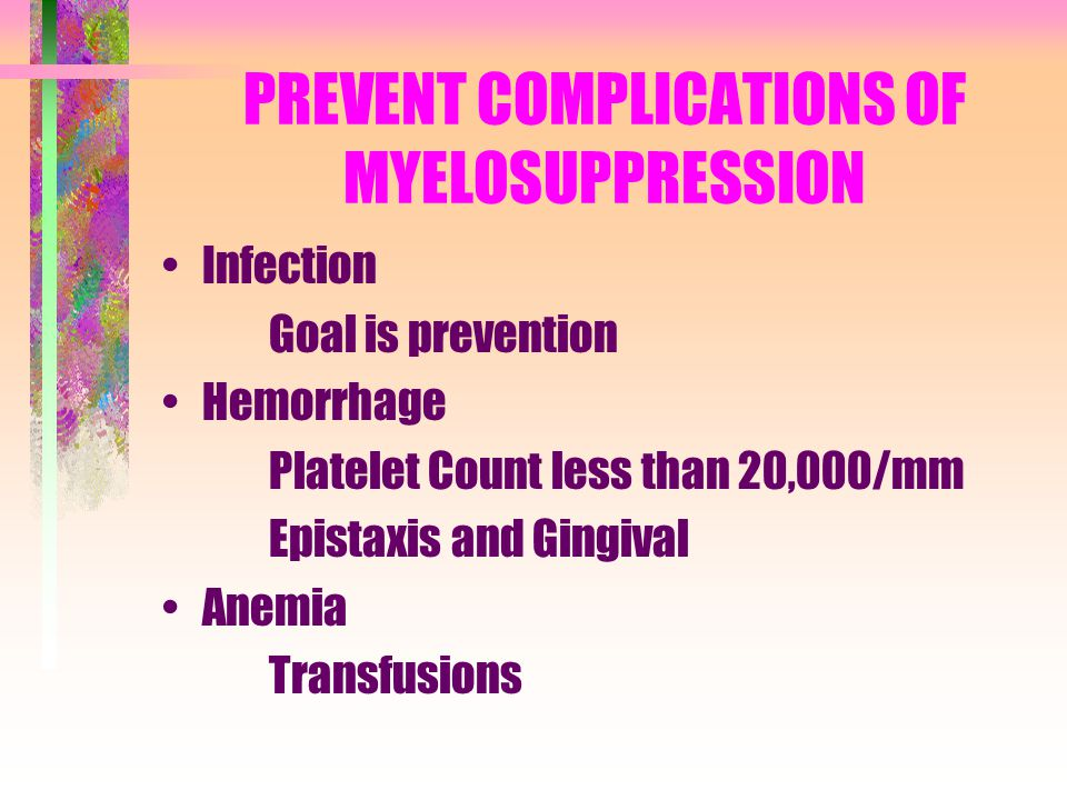 PREVENT COMPLICATIONS OF MYELOSUPPRESSION