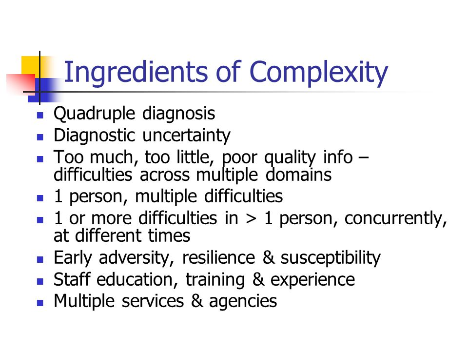 Ingredients of Complexity