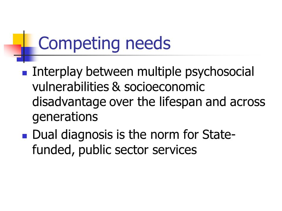 Competing needs Interplay between multiple psychosocial vulnerabilities & socioeconomic disadvantage over the lifespan and across generations.