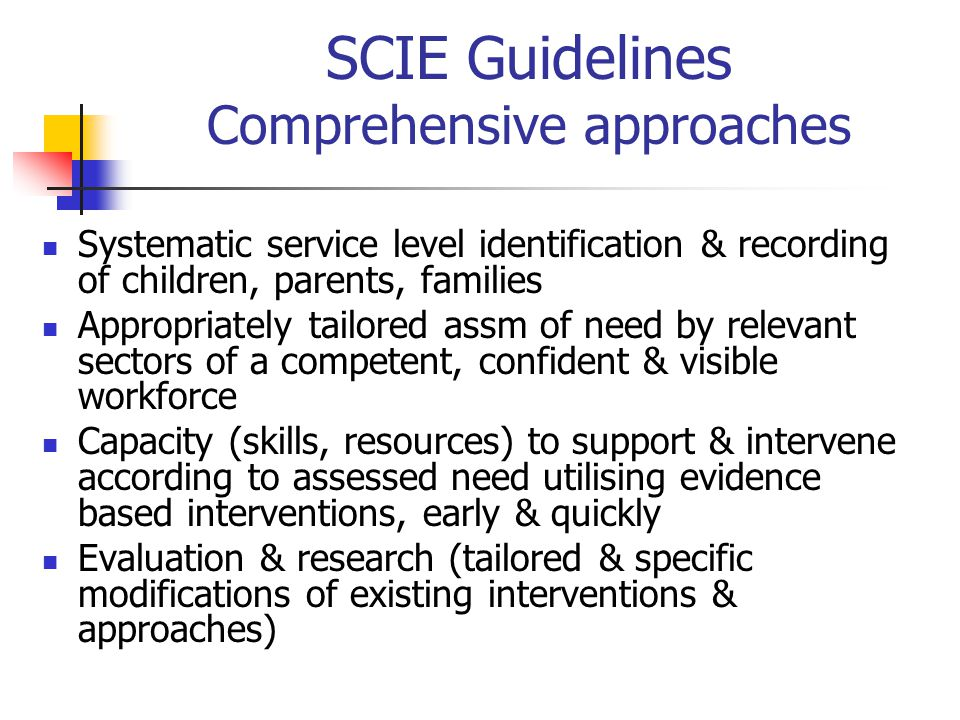 SCIE Guidelines Comprehensive approaches