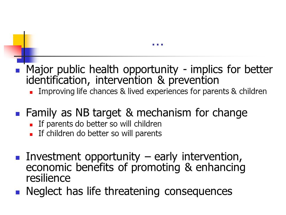 … Major public health opportunity - implics for better identification, intervention & prevention.
