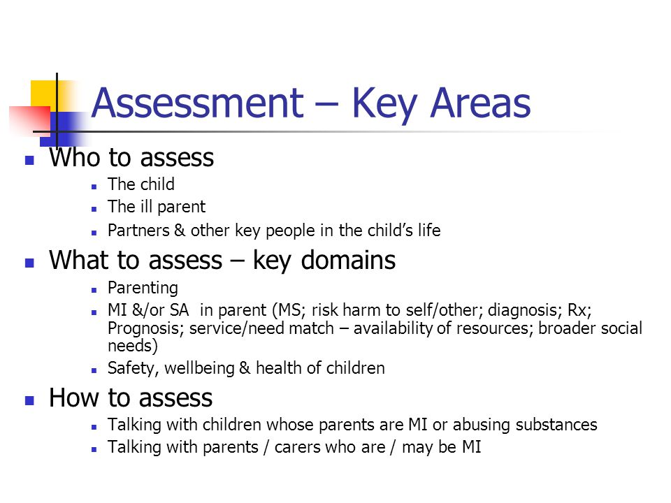 Assessment – Key Areas Who to assess What to assess – key domains