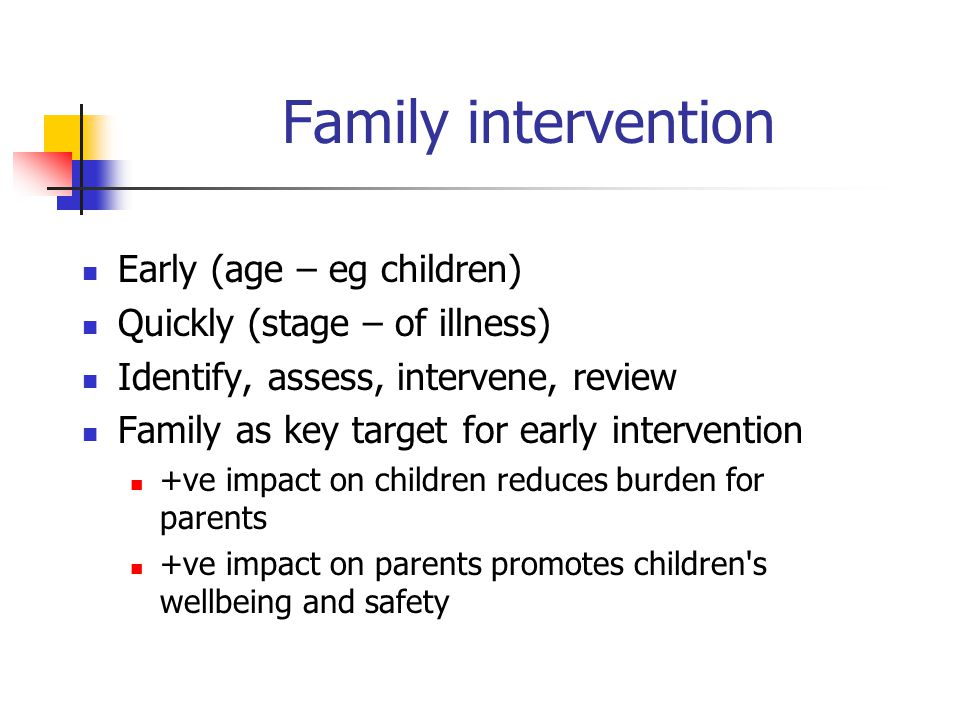 Family intervention Early (age – eg children)