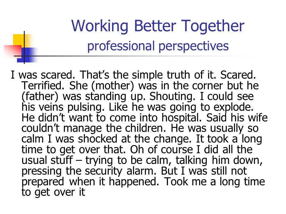 Working Better Together professional perspectives