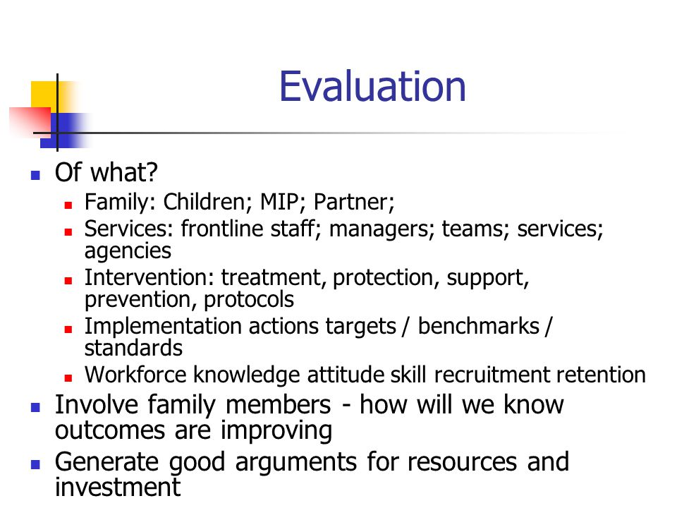 Evaluation Of what Family: Children; MIP; Partner; Services: frontline staff; managers; teams; services; agencies.