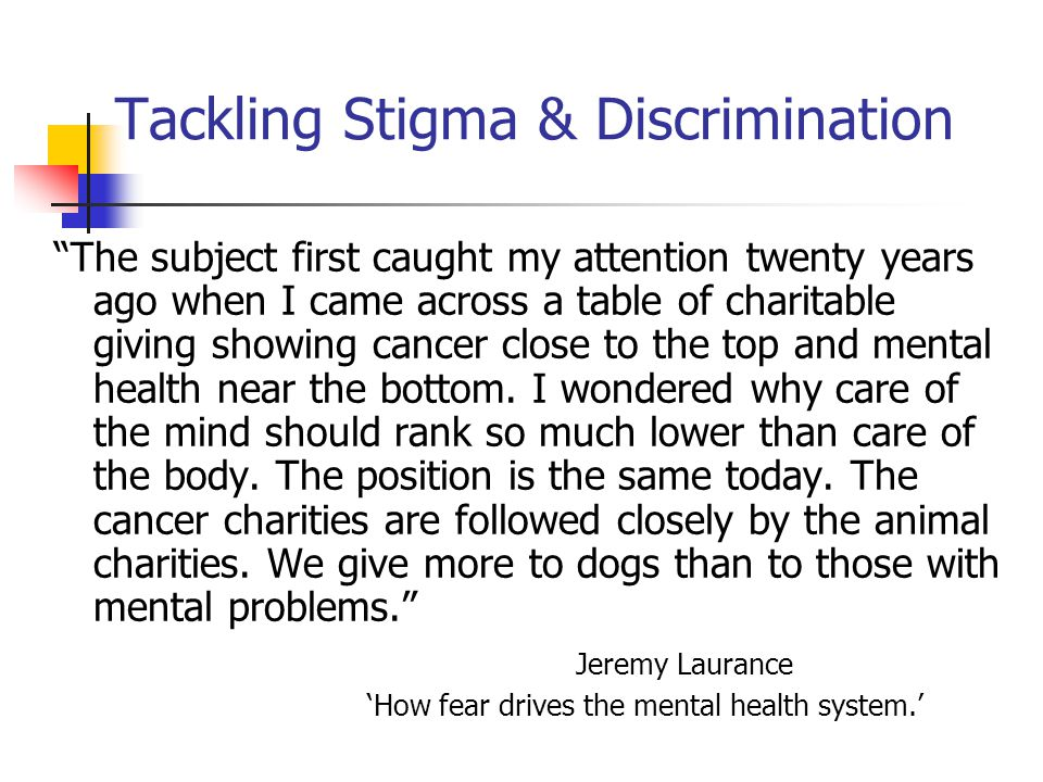 Tackling Stigma & Discrimination