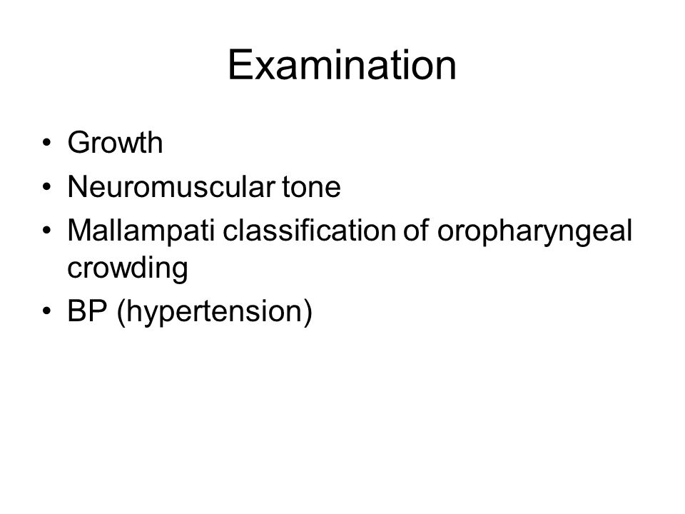 Examination Growth Neuromuscular tone