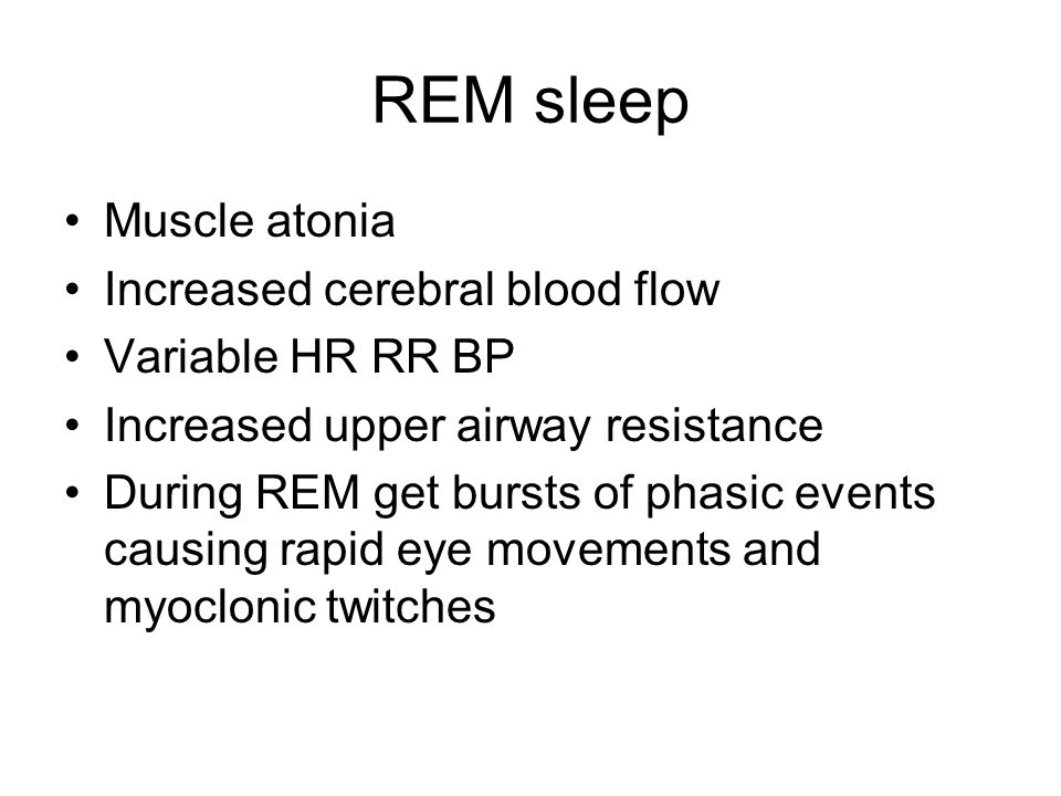 REM sleep Muscle atonia Increased cerebral blood flow