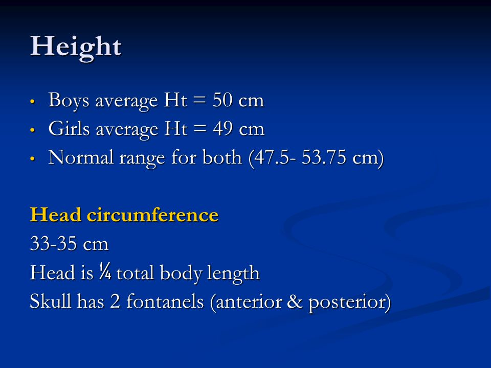 Height Boys average Ht = 50 cm Girls average Ht = 49 cm
