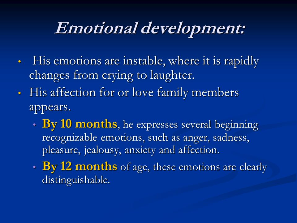 Emotional development: