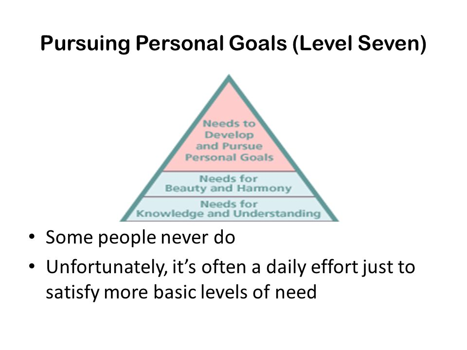 Pursuing Personal Goals (Level Seven)
