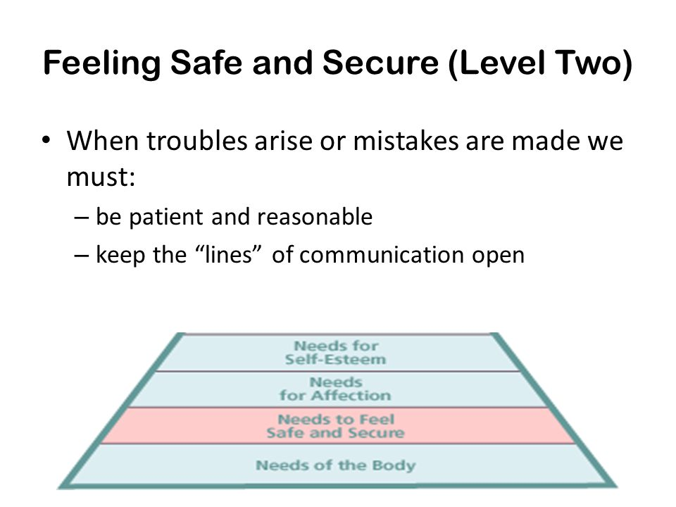 Feeling Safe and Secure (Level Two)
