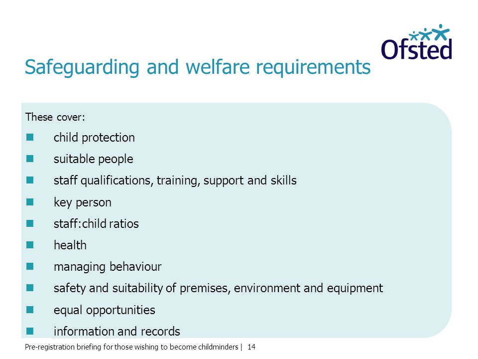 Safeguarding and welfare requirements