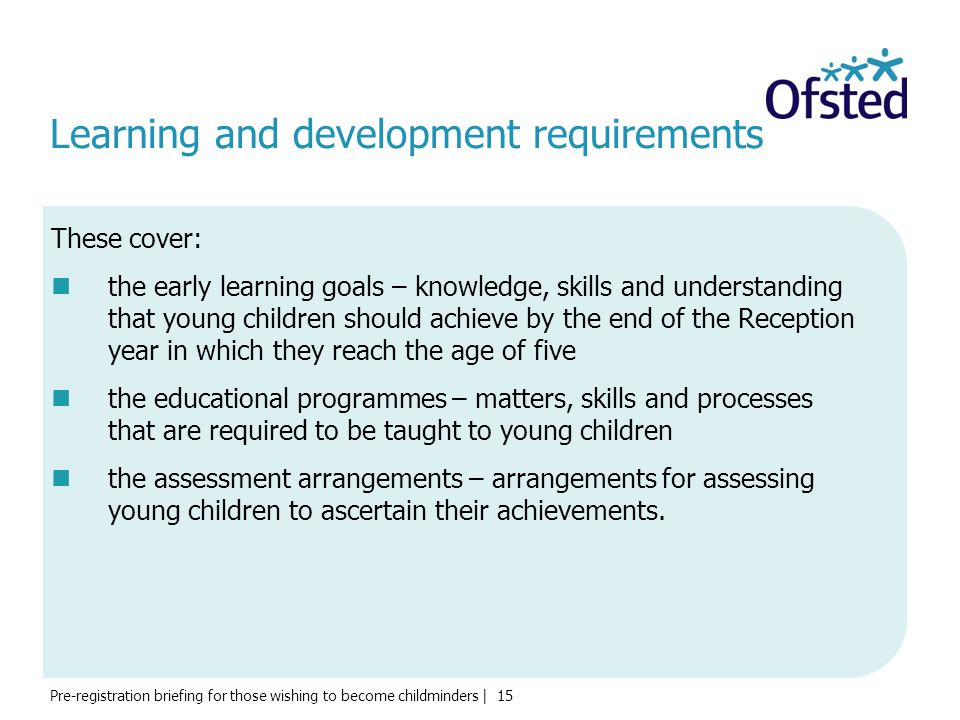 Learning and development requirements