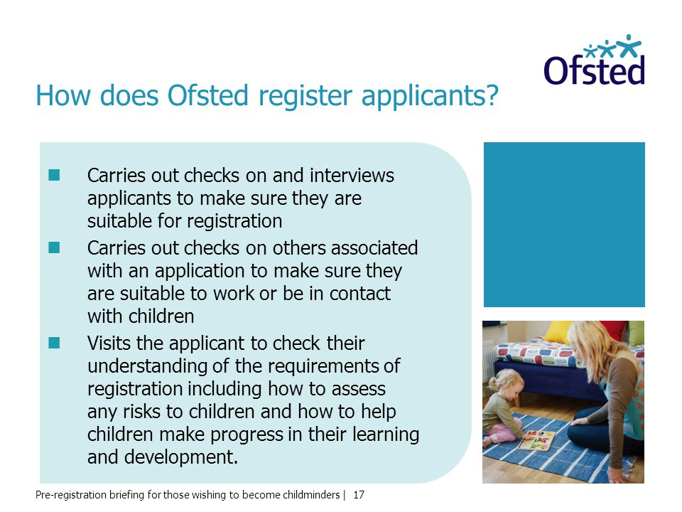 How does Ofsted register applicants