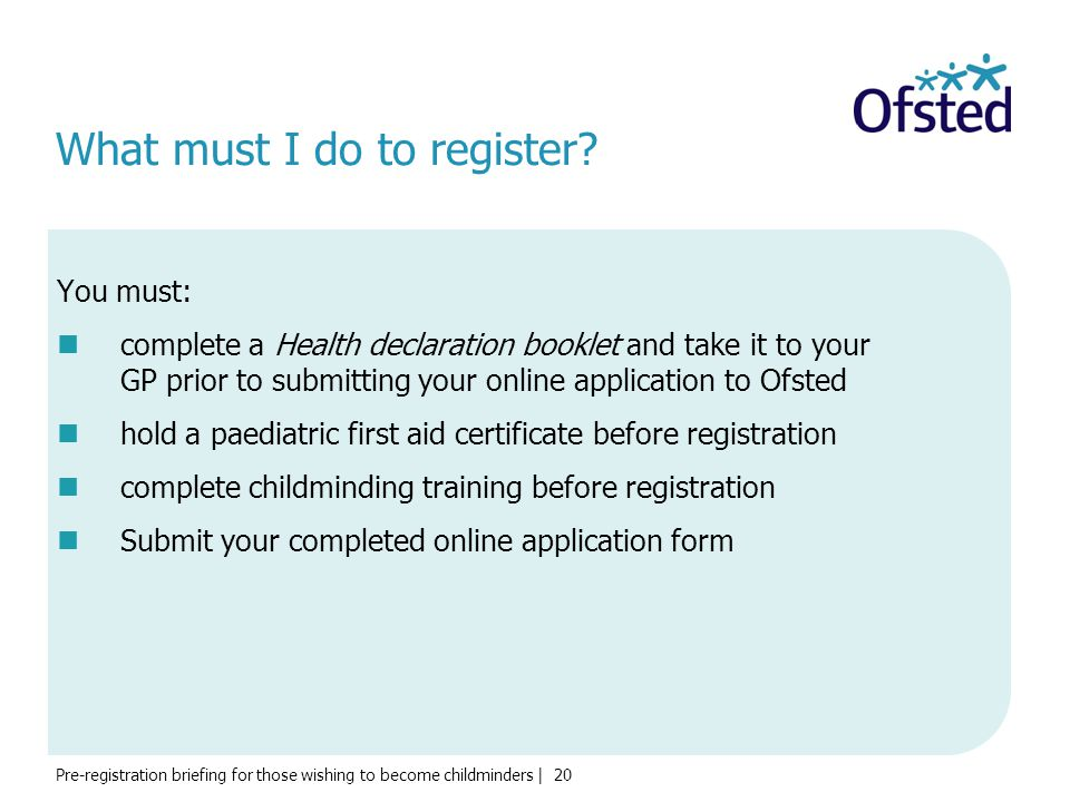What must I do to register