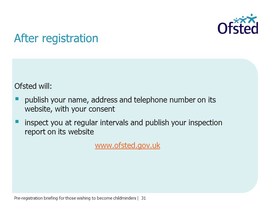 After registration Ofsted will: