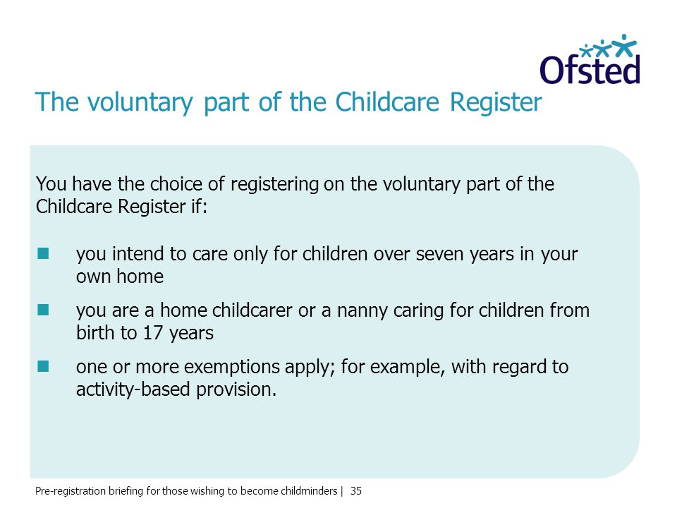 The voluntary part of the Childcare Register