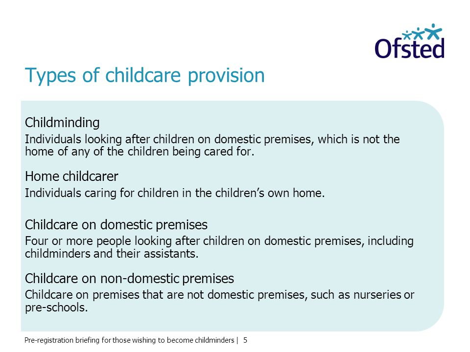 Types of childcare provision