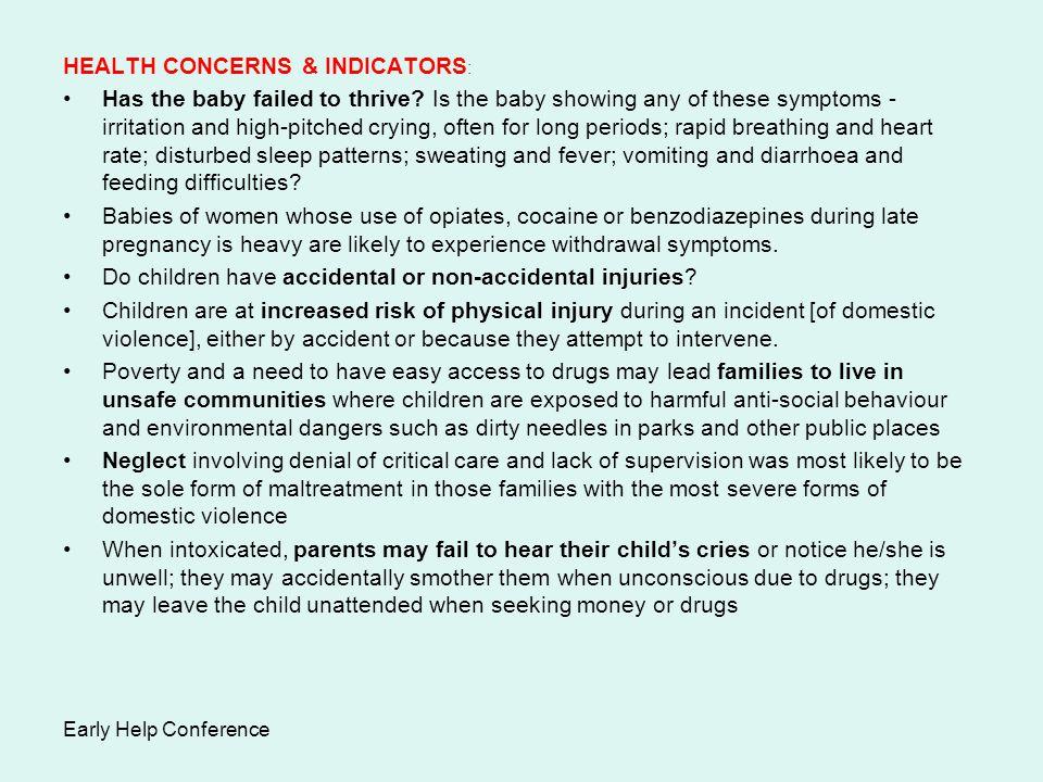 HEALTH CONCERNS & INDICATORS: