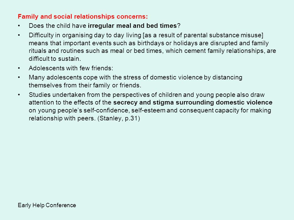 Family and social relationships concerns: