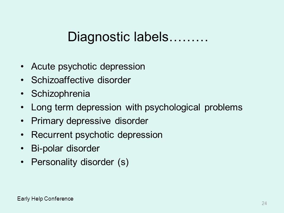 Diagnostic labels……… Acute psychotic depression
