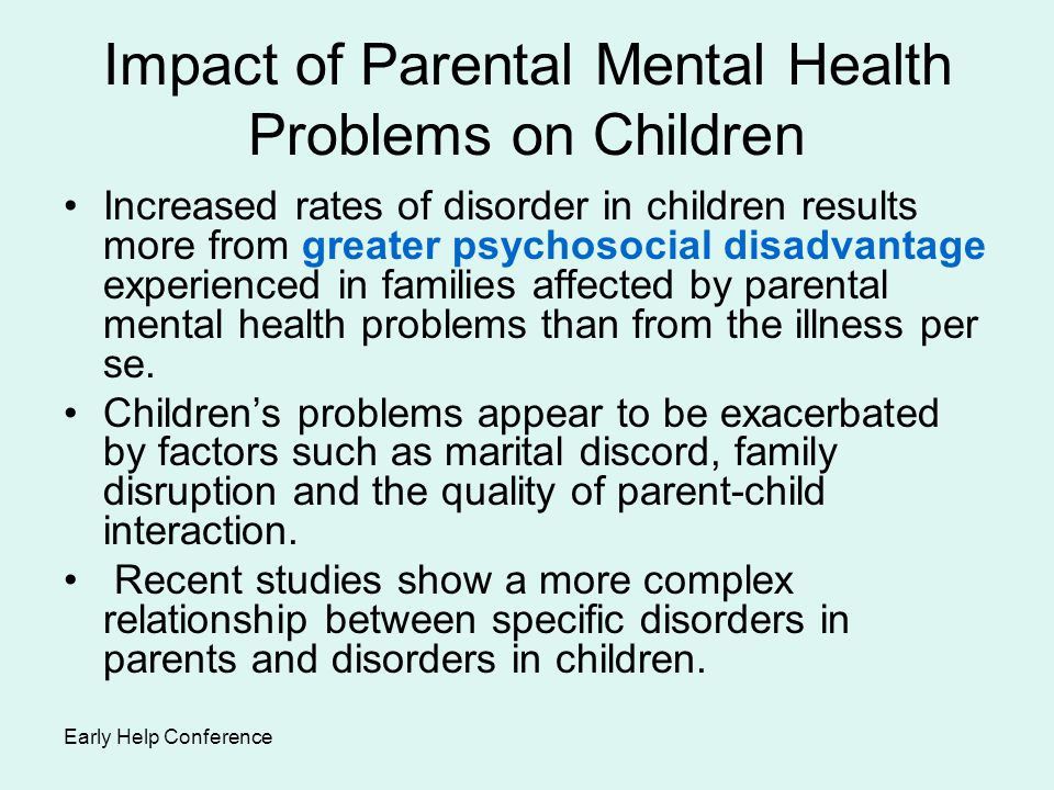 Impact of Parental Mental Health Problems on Children